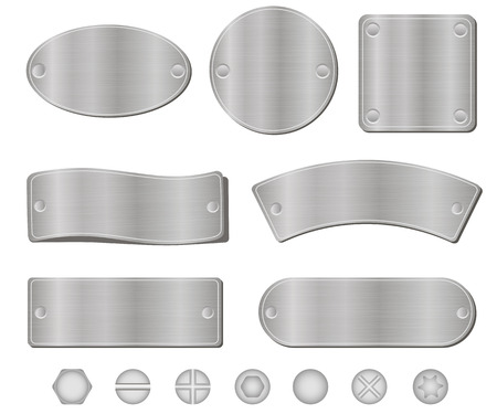 metal parts: Metal plates set, screws and bolts, isolated on white background, vector Illustration