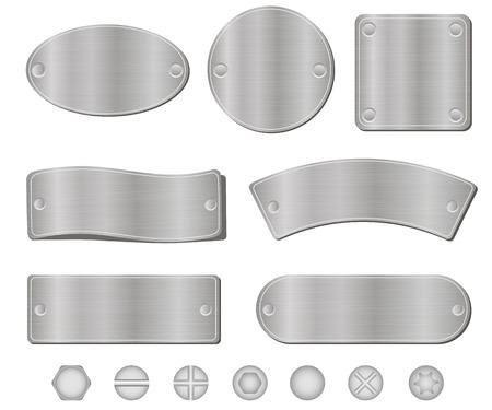 Metalen platen set, schroeven en bouten, geïsoleerd op een witte achtergrond, vector illustratie Stock Illustratie