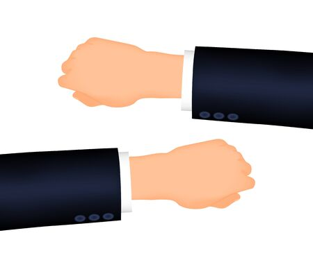 Mans hand right and left. Suit sleeve. The position looking at the watch Illusztráció
