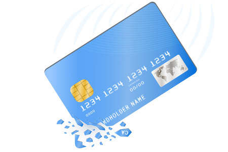 banking problems: Credit card is broken into pieces. Vector illustration