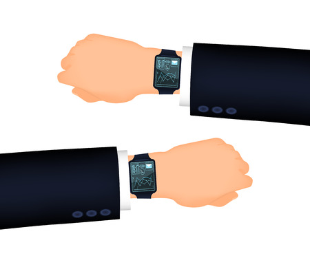 looking at computer screen: Mans hand right and left with smart watch. Suit sleeve. The position looking at the watch Illustration