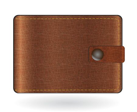 brown leather: Brown leather wallet illustration isolated on white Illustration