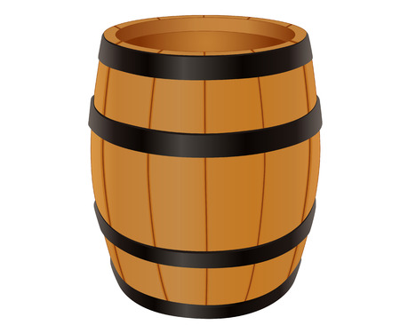 oak wood: Empty wooden barrel illustration isolated on white Illustration