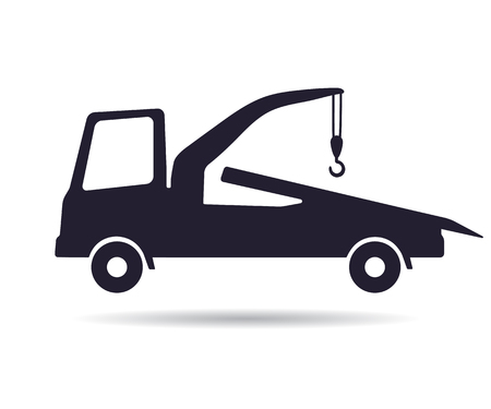 Tow truck icon, illustration isolated on white Vettoriali