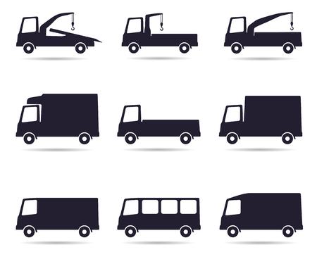 Truck icon set, illustration isolated on white Vettoriali