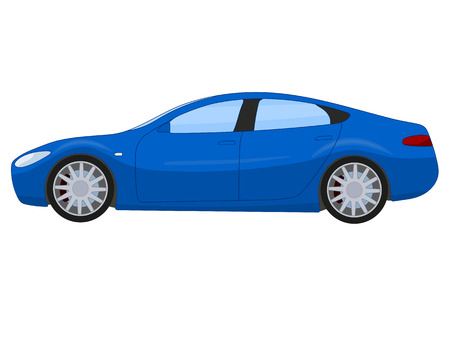 Blue sports sedan, illustration isolated on white Ilustrace