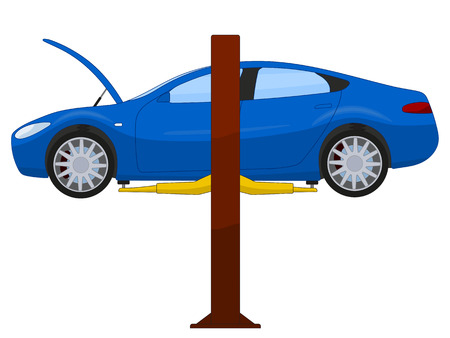 Blue sports sedan on a lift illustration isolated on white Ilustrace