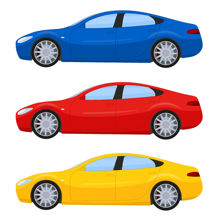 Sports cars in different colors illustration isolated on white