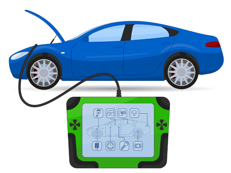 Car diagnostics test service illustration isolated on white
