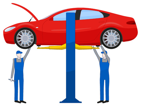 Two mechanic standing under under body and repairing a car lifted on auto hoist, illustration isolated on white