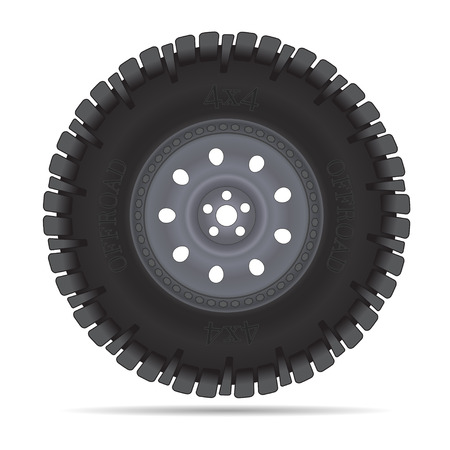 Off road vehicles wheel, illustration isolated on white