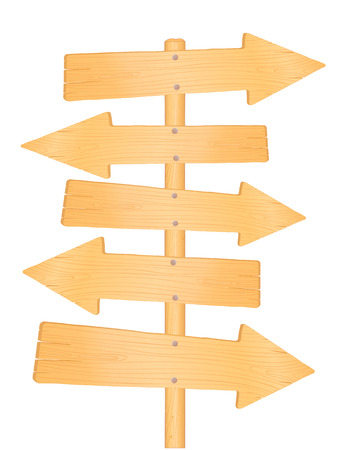 directional arrow: Wooden direction road signs, illustration isolated on white