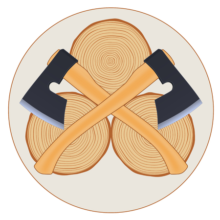 axes: Lumberjack with crossed axes, illustration