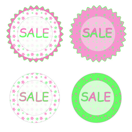 Spring sale label design. Beautiful bright colorful illustration, green and pink flowers.