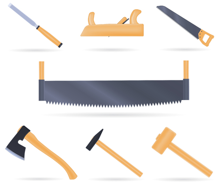 joinery: Set of traditional tools of the carpenter, with wooden handle, illustration isolated on white