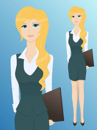 young business woman with a folder, eyes in anime style, illustration