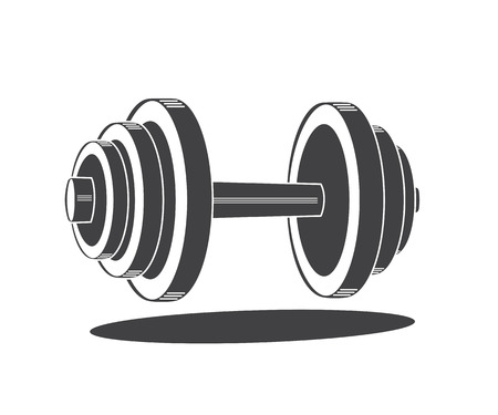 Monochrome dumbbell icon, illustration isolated on white