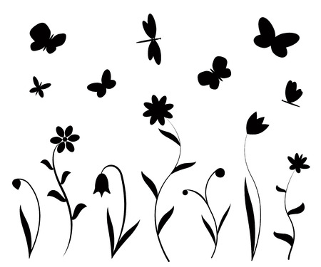 Black flowers butterflies and dragonflies silhouettes. Vector backgrounds, prints, textile decoration.