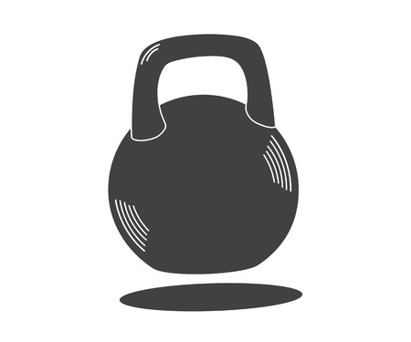 Monochrome kettlebell icon, vector illustration isolated on white