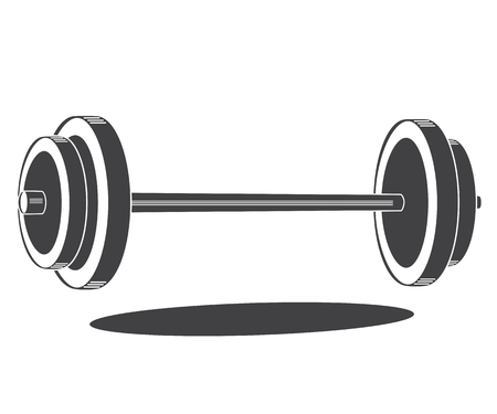 Monochrome barbell icon, vector illustration isolated on white Vettoriali