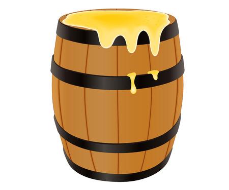 Houten vat met honing, vector illustratie geïsoleerd op wit