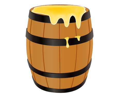 Wooden barrel with honey, vector illustration isolated on white Illustration