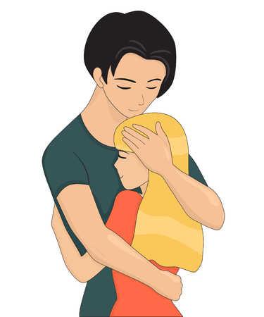 closing: Young couple is hugging. Closing eyes. Vector illustration isolated on white