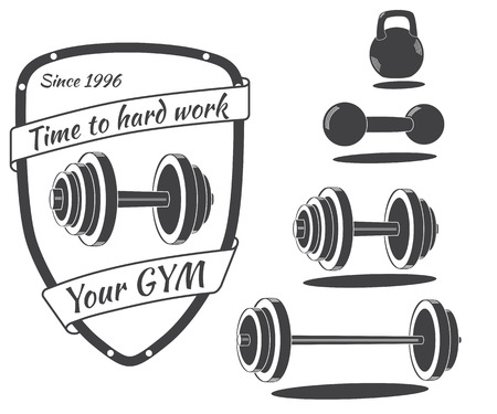 Set of monochrome gym equipment icon, logo and designed elements. Vector illustration isolated on white