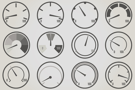 with sets of elements: Gauge meter icons sets. Infographic and progress bar design elements.