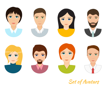 Set of office team icons, male and female characters, vector illustration isolated on white