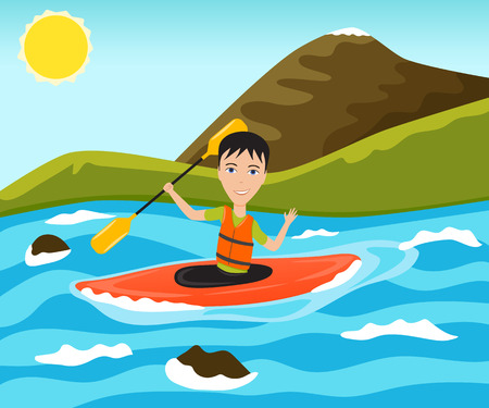 Rafting and kayaking sport. Funny man waves his hand. Vector illustration.