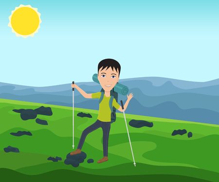 trekking pole: Funny man with a backpack goes hiking and waves his hand. Theme of hiking, walking, trekking, climbing. Vector illustration.