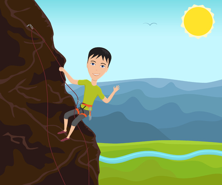 Funny man climbing on a cliff and waves his hand. Vector illustration.
