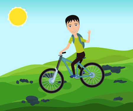 Funny bicyclist traveler with backpack riding a bike on mountain and waves his hand. Vector illustration.