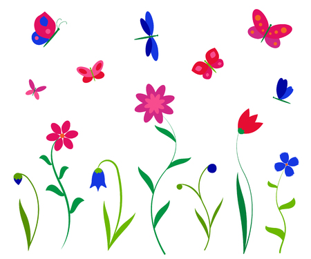 Colorful flowers butterflies and dragonflies. Vector backgrounds prints, textile decoration, kids sticker. Vettoriali