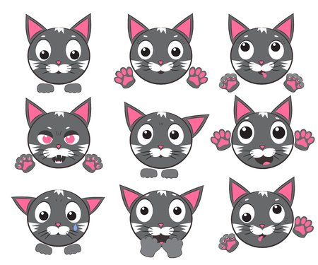 Smiley cat faces with paws. Set of vector icons Ilustrace