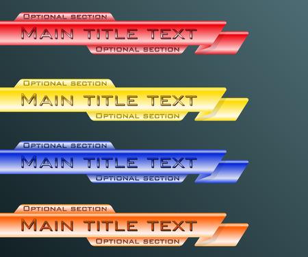 セットのバナーを下げる第 3 青、赤、黄、オレンジ。ベクトルの図。  イラスト・ベクター素材