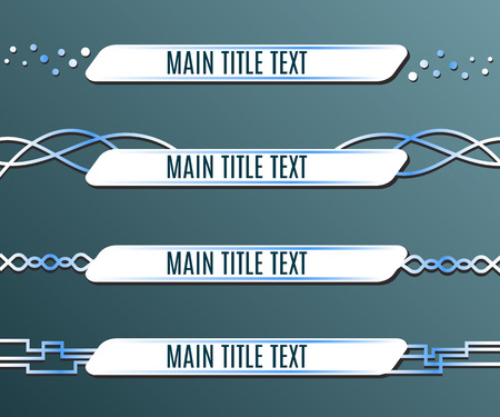 Set of blue banners lower third. Vector illustration Vettoriali