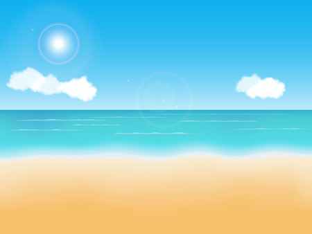Summer empty beach vector background. Seaside view