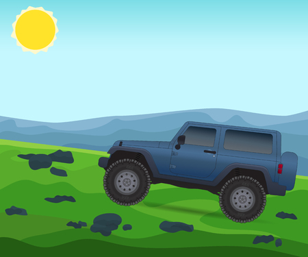 Off road journey, car for bad roads, vector illustration