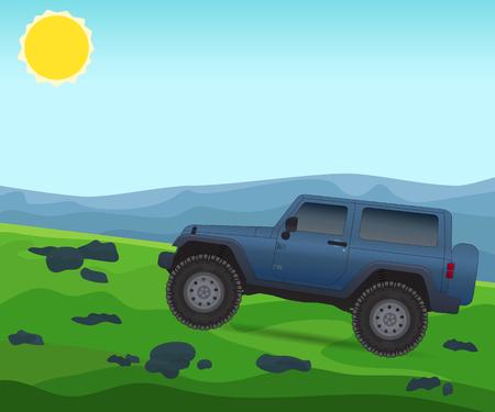 4wd: Off road journey, car for bad roads, vector illustration