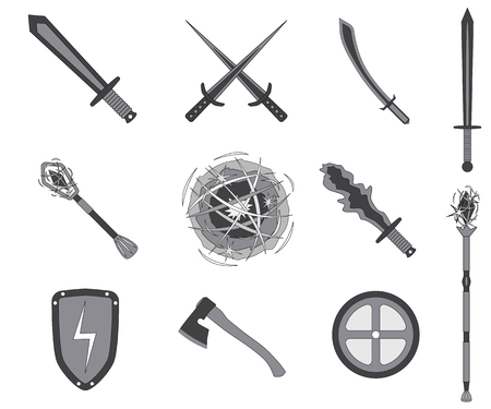 rpg: Game RPG weapons icons set. Vector illustration isolated on white