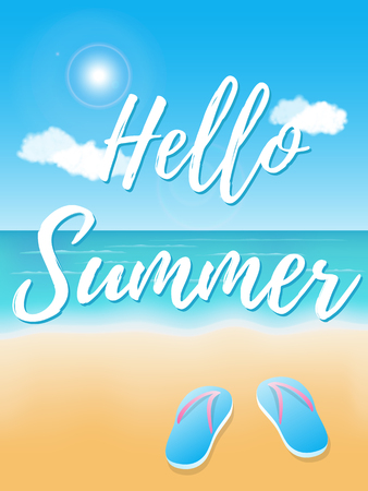Hello Summer. Poster on tropical beach background. Vector illustration Archivio Fotografico