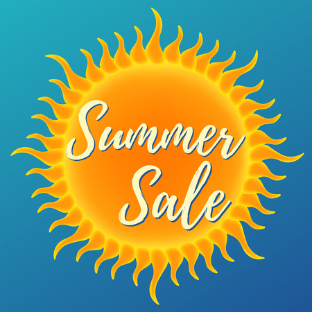 Summer sale banner. Vector illustration on blue background Ilustrace