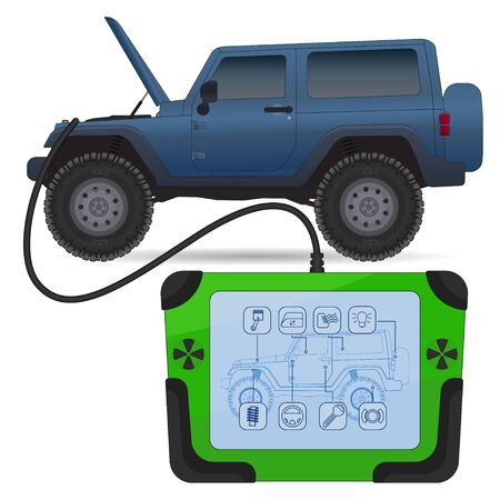 Off road vehicle diagnostics test service, vector illustration isolated on white