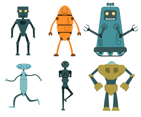 Robot set in flat style, vector illustration isolated on white Vettoriali