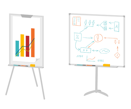 Boards for presentation, flipchart, whiteboard or projection screen. Flat design. Vector illustration isolated on white Vettoriali