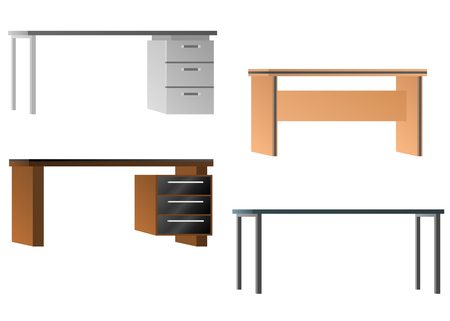 Set of desks for office equipment. Flat design. Vector illustration isolated on white Ilustrace