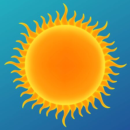 Shiny sun in the blue sky, vector illustration