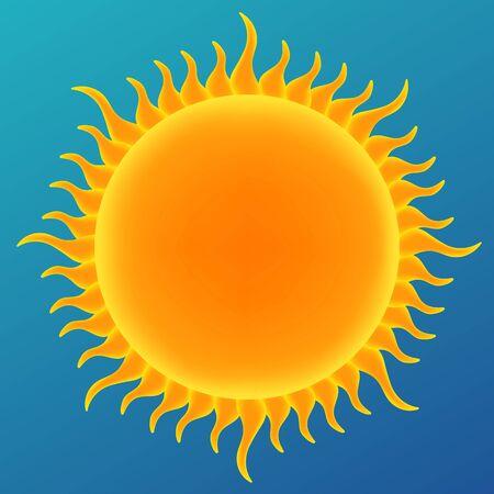dia soleado: sol brillante en el cielo azul, ilustración vectorial Vectores
